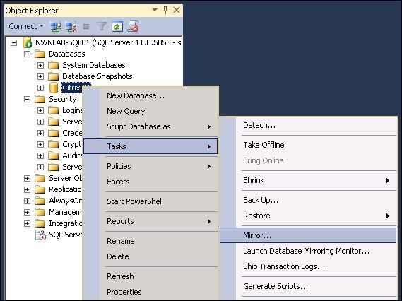 Part 3 – SQL Database Mirroring for Citrix XenApp/XenDesktop